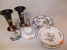 Pair of Royal Stanley ware ' Jacobean ' Art Deco pottery vases, Copeland and Garrett four piece part dessert set, pair of small continental porcelain figures, Majolica figure of a goat, pottery strainer dish and stand and a Commemorative cup and