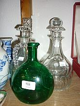 Bristol green glass decanter (a/f), pair of 20th Century cut glass decanters and two other decanters