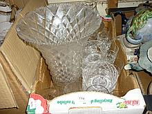 Box containing a quantity of various cut glass including a large trumpet form vase