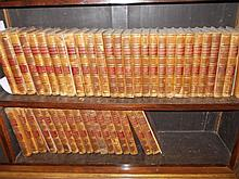 Large quantity of 19th Century French part leather bound volumes, ' Biographie Universelle '