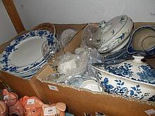 Royal Doulton blue and white transfer printed jug, together with a quantity of other blue and white transfer printed dinner ware