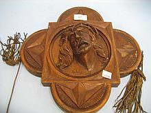 Early 20th Century carved walnut religious plaque