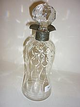 Arts and Crafts Webb glass decanter with a pewter collar by Archibald Knox