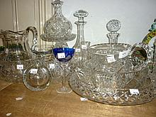 Three cut glass decanters and a quantity of other miscellaneous good quality cut glass