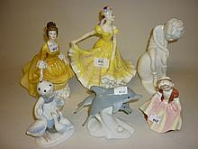 Royal Doulton figure ' Lynette ' HN2379, another ' Coralie ' HN2307 and another smaller ' Dinky Do ' HN2120 and three various other porcelain figural groups