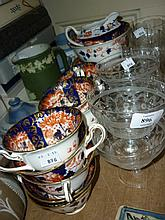 Foley china twelve place setting tea service decorated in Imari colours (some damages), together with a set of five good quality etched glass pedestal goblets and a set of four similar sundae dishes