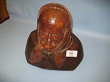 19th Century North European carved wooden bust of a peasant woman