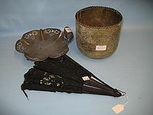 Pewter fruit dish, Benares brass jardiniere and a Victorian lace work fan (a/f)
