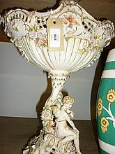 Large 19th Century Continental porcelain figure and floral decorated comport (a/f)