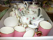 Crown Staffordshire floral decorated part coffee set together with miscellaneous other coffee and teaware