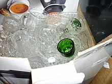 Box containing a quantity of various cut drinking glasses