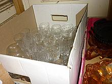 Box containing a large quantity of various drinking glasses