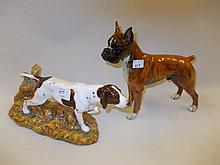 Large Royal Doulton figure of a pointer HN3624 together with a Continental porcelain figure of a boxer dog