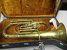 Early 20th Century brass tuba marked ' Maker to H.M. Forces, A. Hall Gisborne ' in a fitted case