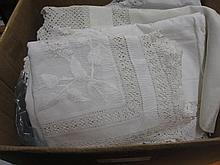Box containing a quantity of various table linen