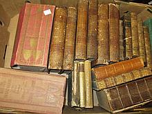 Four volumes ' Drydens Virgil ' 1772 and a quantity of other miscellaneous leather bound books