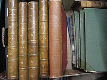Seven part leather bound volumes ' The Studio ', one volume ' Specimens from the Naples Museum ', one volume ' The Pickwick Club ' by Charles Dickens and other various books