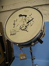 Premier Everplay snare drum with painted skin on stand