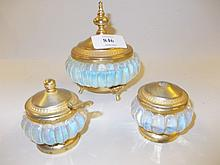 Richard Ginori, blue opaque glass and gilt metal mounted pot and cover, together with two similar mustards