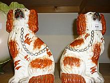 Pair of 19th Century Staffordshire figures of seated spaniels