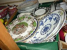 Box containing a quantity of various dinner ware and blue and white plates etc