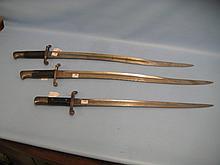 Two English Yataghan bayonets and a Portuguese Kropatchek bayonet