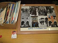 Quantity of various football programmes, Star Trek comics, quantity of Beatles photographs and a pack of Elvis Presley playing cards