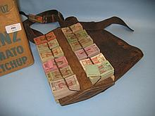 Early 20th Century tram conductors wooden holder, tickets and money satchel