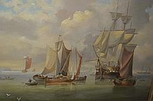 19th Century Dutch school, oil on canvas, miscellaneous shipping in a calm, unsigned, 16ins x 24ins, gilt framed
