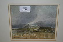 Thomas Coates, watercolour, storm over Criccieth, signed with initials, 5.5ins x 6.25ins