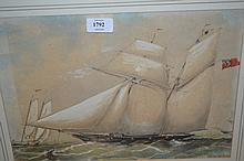 19th Century English school, watercolour, portrait of a two masted ketch rigged sailing ship together with another watercolour, beach scene with sailing boats at Seaford