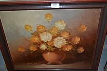 Robert Cox, 20th Century oil on board, still life vase of flowers, signed, 15.5ins x 19.5ins, framed