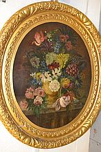 18th Century oval oil on canvas, still life vase of flowers on a stone ledge, 27.5ins x 22.5ins, housed in a moulded ghesso frame
