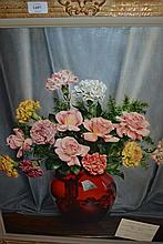 A.L. Grace, oil on canvas, still life, flowers in a flambe vase, signed, 23.5ins x 19.5ins, gilt framed