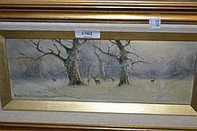 Nils H. Christiansen, small gilt framed oil on board, deer in a landscape