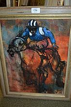 Jenny Farrant, 20th Century oil on board, study of a jockey on horseback, signed with initials and dated '92, 16.5ins x 12.5ins, gilt framed