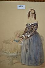 19th Century English school watercolour, portrait of a young lady with child in a cot, 16.5ins x 13ins