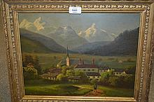 19th Century oil, figure in a Tyrolean mountain village, signed and inscribed verso ' Heidelberg, 1864 ', 11.5ins x 15ins