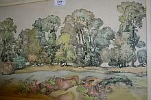 S.M. Litten, watercolour, entitled ' Trees at Darvells ', 13ins x 22ins