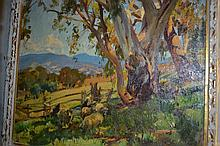 Harold Septimus Power, oil on canvas, landscape with a gum tree to the foreground, 20ins x 24ins, in a painted and parcel gilt frame