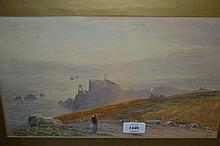 19th Century English school, watercolour, figure on a coastal path overlooking prominent rocks and distant shipping, signed with initials E.J. and dated '87, 8.5ins x 14ins, gilt framed