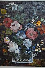 Brenda King, oil on board, still life, flowers in a glass, signed, also with Heals Art Gallery label verso, 7.5ins x 5.5ins, gilt framed