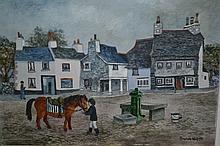 Brenda King, oil on board, ' The Village Pump at Cartmel ', signed, 5.5ins x 7.25ins, gilt framed