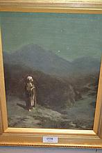 Late 19th Century symbolist style oil, portrait of a figure in a mountain landscape, 11.5ins x 8.5ins