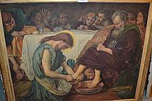 19th Century watercolour, study of Christ with his disciples, 19ins x 24ins