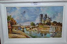 Small oil on board, view of Notre Dame, indistinctly signed, 5ins x 8ins, in a white painted frame together with an unframed oil on canvas, still life, signed W. Glennie (a/f)