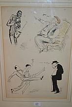 1920's Hand coloured print depicting caricatures of various figures housed in a single frame together with an oak framed print, entitled ' I Sent a Letter to my Love ', collage picture of a song sheet and a 19th Century stipple engraving beach scene