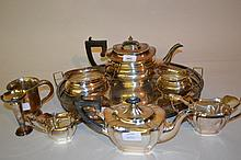 Two silver plated three piece tea services, an oval tray, mug and epergne