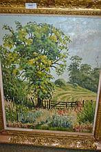 R. Allen, 20th Century oil on board, a rural landscape, signed, 19ins x 15ins, gilt framed