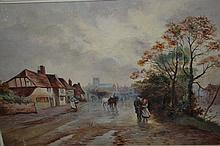 20th Century oil on canvas, figures and horses in a street scene, 13ins x 21ins, gilt framed